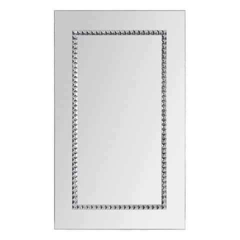Embedded Chrome Jewel-boardered Mirror - Silver