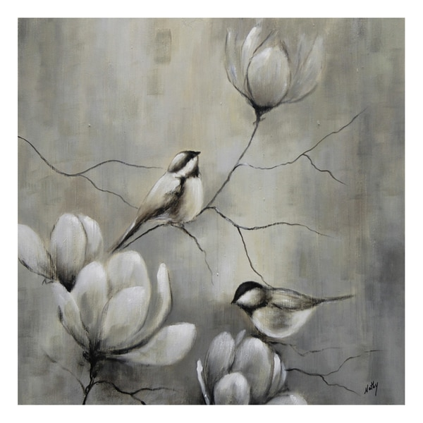 Nathalie Viens 'Oiseau I' Hand Painted Canvas