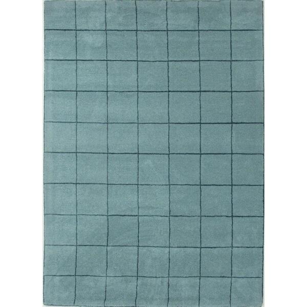 Aqua Sea Modern Geometric Wool/Silk Tufted Rug (5' x 8')