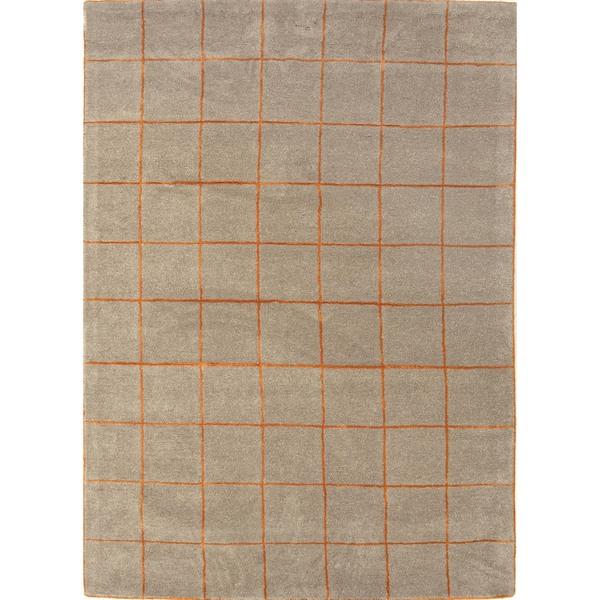 Beige Modern Geometric Wool/Silk Tufted Rug (5' x 8')