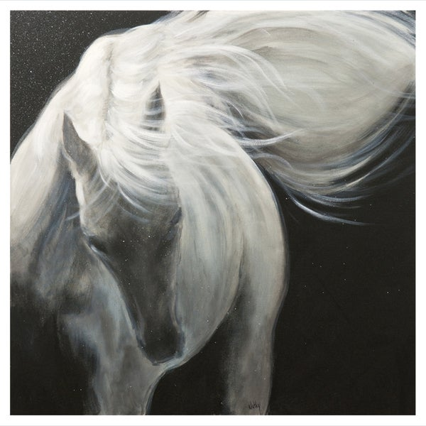 Nathalie Viens 'The White Stallion I' Hand Painted Canvas