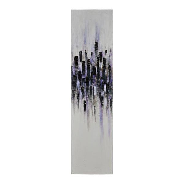Elias Munoz 'Violet Metropolis I' Hand Painted Canvas