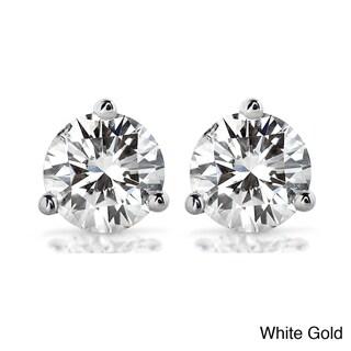 Annello by Kobelli 14k Gold Round-cut Moissanite Stud Earrings