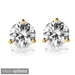 Annello by Kobelli 14k Gold Round-cut Moissanite Stud Earrings