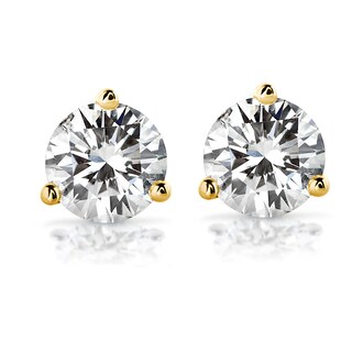 Annello by Kobelli 14k Gold Round Brilliant-cut Moissanite Stud Earrings (More options available)