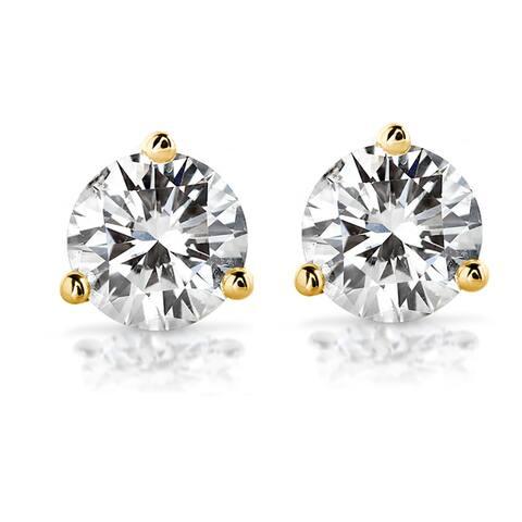 Annello by Kobelli 14k Gold Round Brilliant-cut Moissanite Stud Earrings