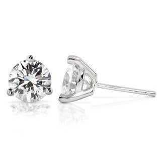 Annello by Kobelli 14k Gold Round Brilliant-cut Moissanite Stud Earrings