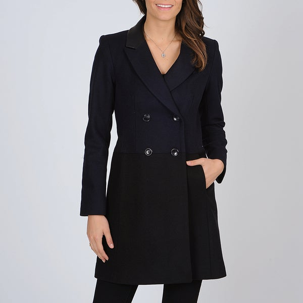 Vince Camuto Women's Navy/ Black Color-block Trench Coat