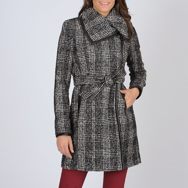 Vince Camuto Women's Black/ White Plaid Trench Coat