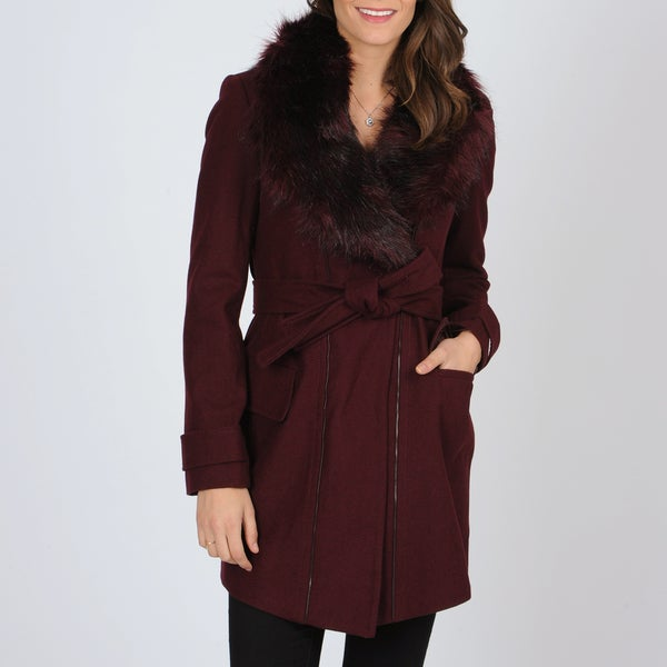 Vince Camuto Women's Burgundy Trench with Removable Faux Fur Trim