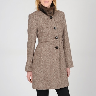 Ivanka Trump Women's Faux Fur Collar Tweed Coat