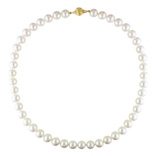 Miadora Signature Collection 14k Yellow Gold White Cultured Akoya Pearl Necklace (8.5 - 9mm)