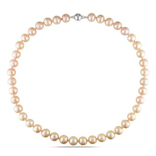 Miadora Sterling Silver Pink Cultured Freshwater Pearl Necklace (10-10.5 mm)