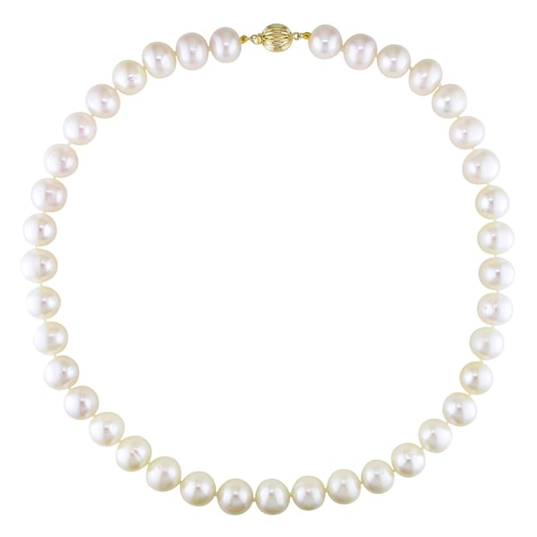 Miadora 14k Yellow Gold White Cultured Freshwater Pearl Necklace (11-11.5 mm)