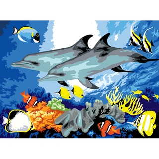 "Junior Large Paint By Number Kit 15-1/4"" X 11-1/4""-Dolphins"