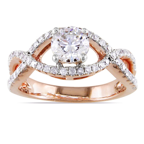 Miadora 14k Rose Gold 3/4ct TDW Diamond Engagement Ring