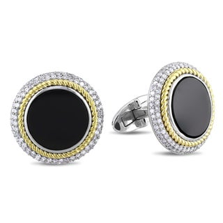 Miadora Signature Collection 14k Gold Onyx and 7/8ct TDW Diamond Cuff Links (G-H, SI1-SI2)
