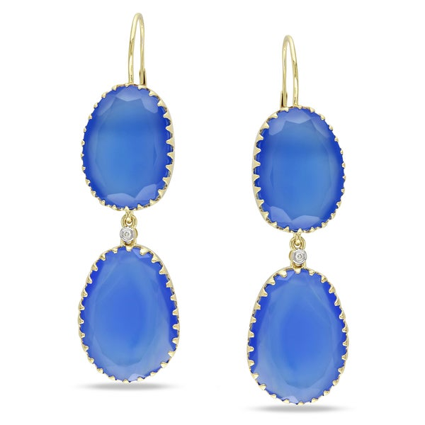 Miadora Signature Collection 14k Yellow Gold Blue Chalcedony and Diamond Accent Earrings