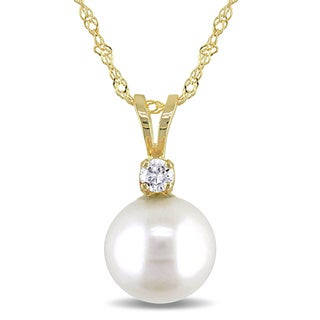 Miadora 14k Yellow Gold Cultured Freshwater Pearl and Diamond Solitaire Drop Necklace (I-J, I2-I3) (8 - 8.5 mm)