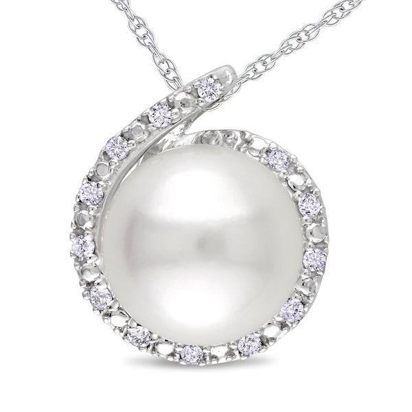 Miadora 8 - 8.5mm White Freshwater Cultured Pearl and Diamond Accent Loop Halo Necklace in 10k White Gold (G-H, I2-I3)