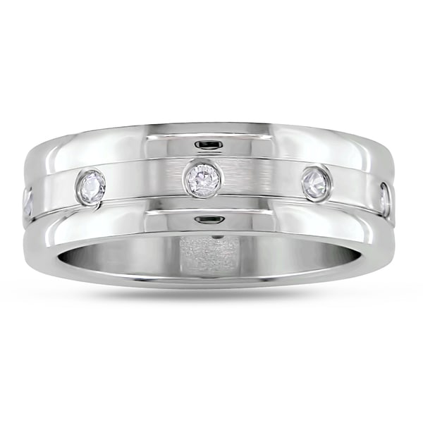 Miadora Stainless Steel Round Cubic Zirconia Band