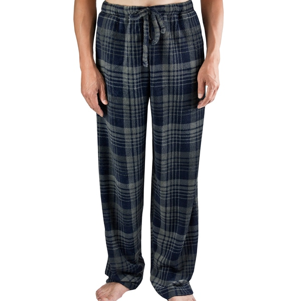 Leisureland Men's Plaid Charcoal Fleece Lounge Pants