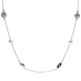 Roman Silvertone Artisan Bead 36-inch Tin Cup Necklace