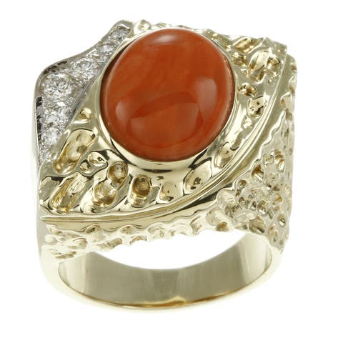 Pre-owned 14k Yellow Gold Coral and 1/3ct TDW Diamond Estate Ring