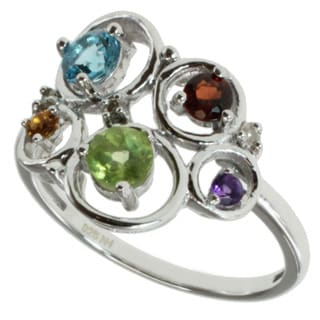 M.V. Jewels Sterling Silver Multi-gemstone and Diamond Ring