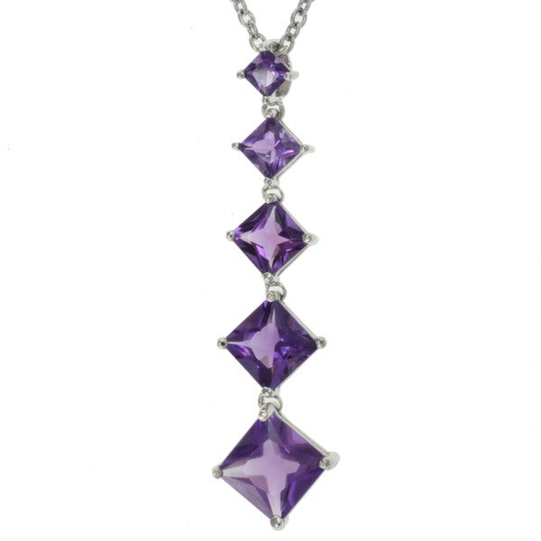 Michael Valitutti Sterling Silver Amethyst Drop Necklace