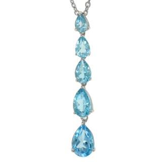 Michael Valitutti Sterling Silver Swiss Blue Topaz Necklace