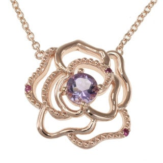 Michael Valitutti Sterling Silver Pink Amethyst and Pink Sapphire Necklace
