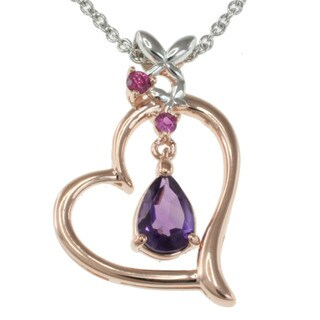 Michael Valitutti Sterling Silver Amethyst and Pink Sapphire Heart Necklace