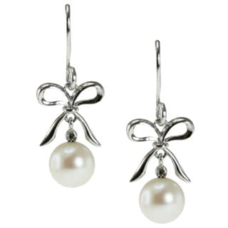 Michael Valitutti Sterling Silver White Pearl and Diamond Bow Earrings (7 mm)