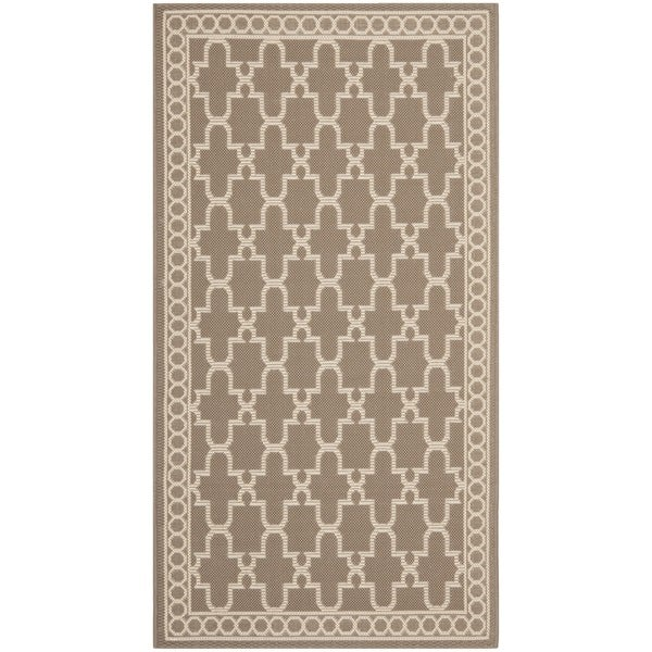 Safavieh Courtyard Trellis All-Weather Dark Beige/ Beige Indoor/ Outdoor Rug