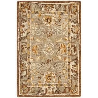 Safavieh Hand-made Ancestry Dark Grey/ Brown Hand-spun Wool Rug (2' x 3')