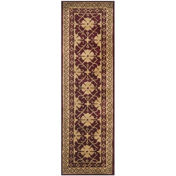 Safavieh Handmade Classic Agra Maroon/ Beige Wool Rug (2'3 x 8')