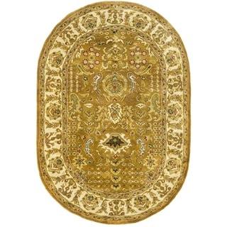 Safavieh Handmade Classic Gold/ Ivory Wool Rug (7'6 x 9'6 Oval)