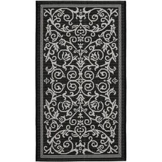 Safavieh Resorts Scrollwork Black/ Sand Indoor/ Outdoor Rug (2' x 3'7)