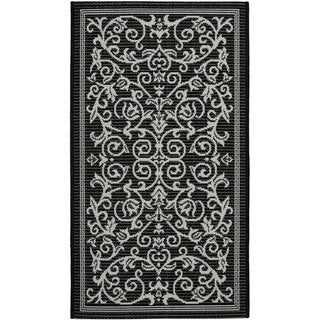 Safavieh Poolside Black/ Sand Indoor Outdoor Rug (2' x 3'7)