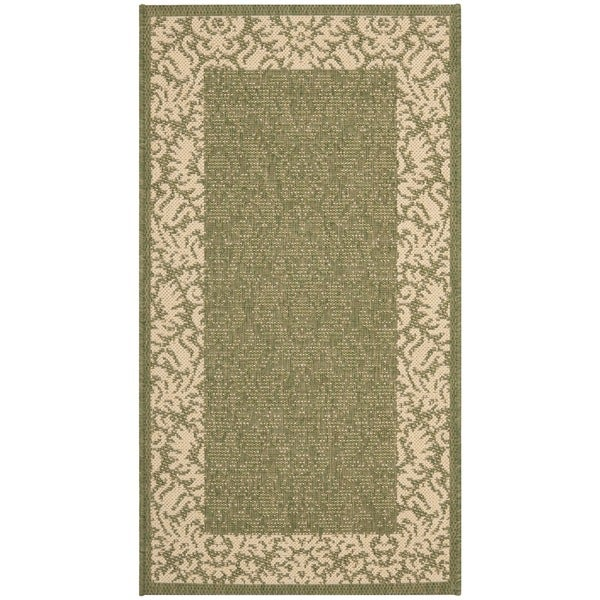 Safavieh Kaii Damask Olive Green/ Natural Indoor/ Outdoor Rug (2' x 3'7) - 2' x 3'7
