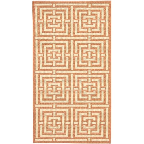 Safavieh Poolside Terracotta/ Cream Indoor Outdoor Rug (2' x 3'7)