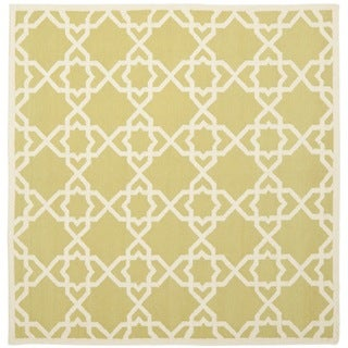 Safavieh Handwoven Moroccan Reversible Dhurrie Green/ Ivory Wool Area Rug (6' Square)