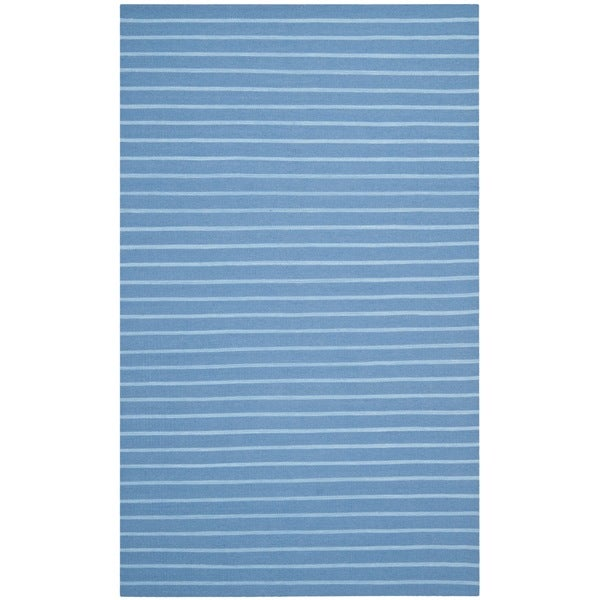 Safavieh Hand-woven Moroccan Reversible Dhurrie Stripes Reversible Dhurrie Blue Wool Rug