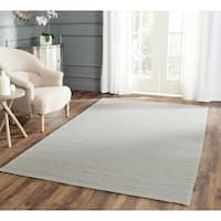 Safavieh Hand-woven Moroccan Reversible Dhurrie Stripes Reversible Dhurrie Grey Wool Rug
