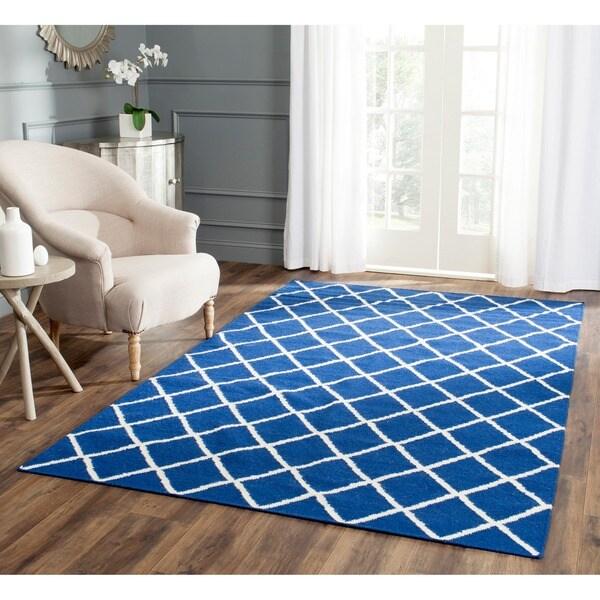 Safavieh Hand-woven Moroccan Reversible Dhurrie Dark Blue Wool Rug