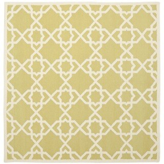 Safavieh Hand-woven Moroccan Reversible Dhurrie Green/ Ivory Wool Rug (8' Square)