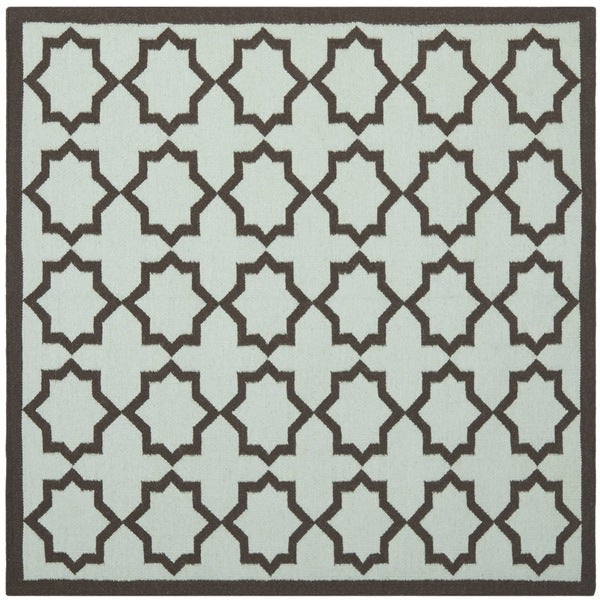 Safavieh Hand-woven Moroccan Reversible Dhurrie Light Blue/ Chocolate Wool Rug (6' Square)