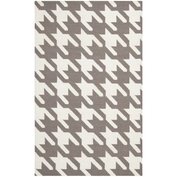 Safavieh Hand-woven Moroccan Reversible Dhurrie Grey Wool Rug
