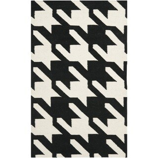 Safavieh Hand-woven Moroccan Reversible Dhurrie Hounds Tooth Reversible Dhurrie Black Wool Rug